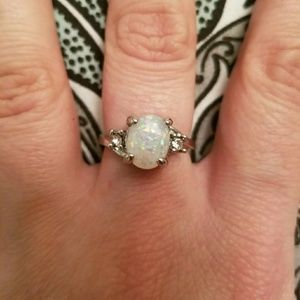 Size 7 925 Stamped SS Fire opal Ring